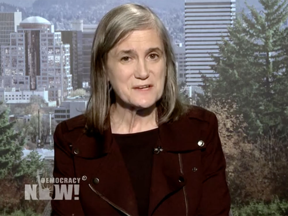 Democracy Now Amy Goodman covers Brooklyn Museum Protest